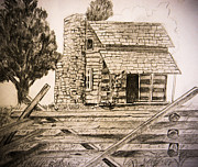 Log Cabin Drawings Prints - Tobys Place Print by Suzie Hanscom