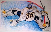 Goalie Drawings Originals - Toe Save by Greg Schram
