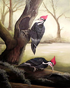 Woodpeckers Paintings - Together Again by Laura Brown