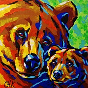 Christine Karron Metal Prints - Together - Bear with Cub Metal Print by Christine Karron