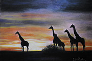 Giraffe Pastels Posters - Together  Poster by Frikkie Bekker