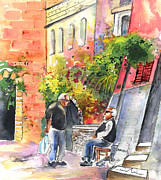 Chatting Drawings - Together old  in Italy 05 by Miki De Goodaboom