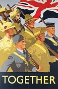 Uniforms Drawings Posters - Together propaganda poster Poster by Anonymous
