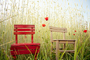 Chairs Art - Together Then by Violet Damyan