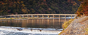 Weir Framed Prints - Togetsukyo Bridge and Katsura River Panorama Arashiyama Kyoto Ja Framed Print by Colin and Linda McKie