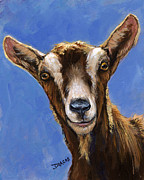 Goats Paintings - Toggenburg Goat on Blue by Dottie Dracos
