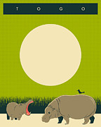 Hippopotamus Digital Art Posters - Togo Travel Poster Poster by Jazzberry Blue