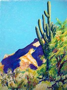 Yellow Ochre Pastels Posters - Tohono Chul Saguaro Poster by Katrina West