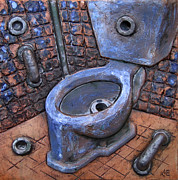Interior Scene Ceramics Prints - Toilet stories #9 Print by Carlos Enrique Prado