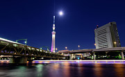 Sea Moon Full Moon Framed Prints - Tokyo Skytree and Light Trails Framed Print by Duane Walker