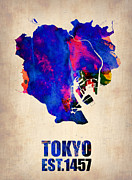 World Map Poster Prints - Tokyo Watercolor Map 2 Print by Irina  March