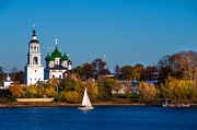 Yellow Line Prints - Tolga Monastery at River Volga Print by Jenny Rainbow