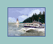 Cruising Paintings - Tollycraft Southbound in Clovos Passage by Jack Pumphrey