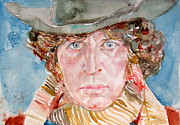 Tv Painting Posters - TOM BAKER DOCTOR WHO watercolor portrait Poster by Fabrizio Cassetta