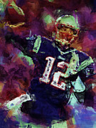 Patriots Digital Art Posters - Tom Brady Abstract 1 Poster by David G Paul