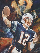 New England Patriots Framed Prints - Tom Brady Framed Print by Christiaan Bekker