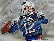 Nfl Drawings Prints - Tom Brady Print by Dave Olsen