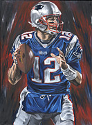 Quarterback Paintings - Tom Brady by David Courson