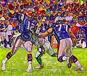 Tom Brady Prints - Tom Brady in Blue  Print by DJ Fessenden