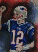 Nfl Drawings Prints - Tom Brady Print by Jeremy Moore