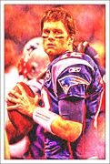 Michael Mixed Media Framed Prints - Tom Brady Framed Print by Michael Knight