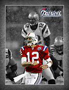 New England Patriots Posters - Tom Brady Patriots Poster by Joe Hamilton