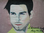 Star Drawings Framed Prints - Tom Cruise 05 Framed Print by Fladelita Messerli-