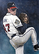Baseball Art Framed Prints - Tom Glavine - Atlanta Braves World Series Framed Print by Michael  Pattison