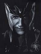 Thor Drawings Metal Prints - Tom Hiddleston Metal Print by Rosalinda Markle