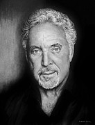 Beards Drawings Prints - Tom Jones The voice bw Print by Andrew Read