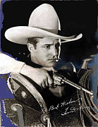 Autographed Metal Prints - Tom Mix portrait Melbourne Spurr Hollywood California c.1925-2013 Metal Print by David Lee Guss