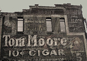 Anne Cameron Cutri Metal Prints - Tom Moore Ten Cent Cigar Black and White Metal Print by Anne Cameron Cutri