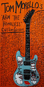Guitars Paintings - Tom Morello Arm The Homeless guitar by Karl Haglund