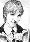 Thomas Drawings - Tom petty art drawing sketch portrait by Kim Wang