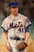 Training Mixed Media Prints - Tom Seaver Print by Michael  Pattison