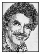 Blue And Gray Drawings - Tom Selleck in 1984 by J McCombie