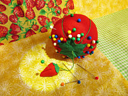 Sewing Supplies Posters - Tomato Pincushion  Poster by Shawna  Rowe