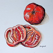 Tomato Drawings Framed Prints - Tomato3 Framed Print by Hillary Floyd