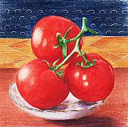 Still Life Drawings Framed Prints - Tomatoes Framed Print by Anastasiya Malakhova