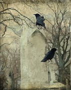 Crows On Tombstones Framed Prints - Tombstone Hoppers Framed Print by Gothicolors And Crows
