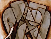Cubism Paintings - Tommervik Abstract Cubism Elephant  by Tommervik