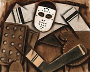 Goalie Art - Tommervik Abstract Cubism Vintage Hockey Goalie by Tommervik