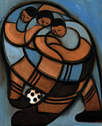 Soccer Metal Prints - Tommervik Abstract Soccer Art Players Metal Print by Tommervik