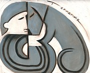 Abstract Dogs Paintings - Tommervik Art Deco Man and Dog  by Tommervik