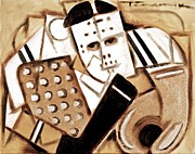 Cubism Art Framed Prints - Tommervik Vintage Hockey Goalie Framed Print by Tommervik