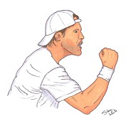 Atp Drawings Metal Prints - Tommy Haas Metal Print by Steven White
