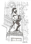 Icons Drawings Originals - Tommy Trojan by Calvin Durham