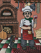 Dachshund Art Paintings - Tommys Italian Kitchen by Victoria De Almeida