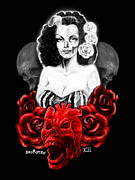 Heart Of The Rose Framed Prints - Tongolele y las calacas Framed Print by Joey Rotten