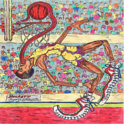 Nba Framed Prints - Tongue Jam Framed Print by Richard Hockett